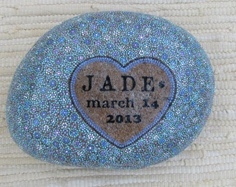 Hand painted pet memorial stone - Millefiori design