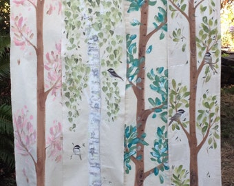 Grow Chart Tree, Handpainted Growth Chart, Personalized Grow Chart on a Fabric Banner, Made to Order,