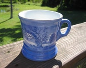 Currier Ives Homestead in Winter Mug Cobalt Blue & White w Gold Trim 1950s