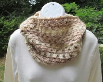 Crocheted Cowl - Cappucino Browns - Neck Warmer, Infinity