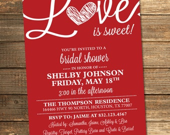 Bridal Shower Invitation, Love is Sweet, Heart, Red, White, Valentines, Sweet, Candy Theme, Printable File (Custom, INSTANT DOWNLOAD)
