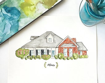 Custom House Portrait 8x10 - Original Home Watercolor Art