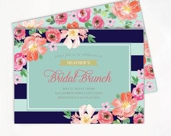 Bridal Brunch Invitation / Navy Mint Stripes / Floral Bridal Shower Invitation // OPTIONS: Birthday / Baby Shower l Printable/Printed Invite