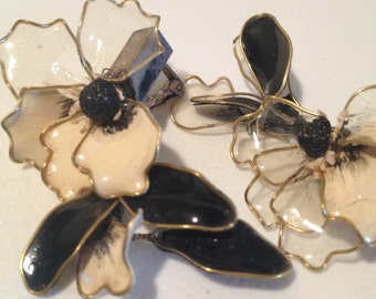 Clip ons 30s era delicate floral painted plastic - very as is but very charming too...