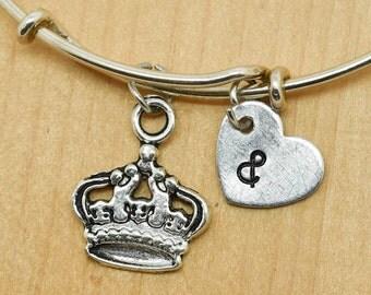 Crown Bangle, Sterling Silver Bangle, Crown Bracelet, Bridesmaid Gift, Personalized Bracelet, Charm Bangle, Monogram, Initial Bracelet