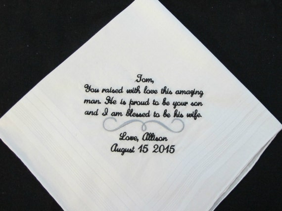 Embroidered Wedding Handkerchiefs for Father of the Groom