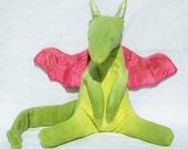 Organic Baby Dragon, GOTS Certified Cotton Fleece, Hemp/Silk Satin Wings & Alpaca Stuffing