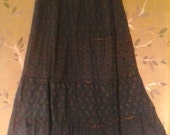 Black Indian tiered gypsy skirt