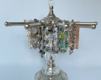 Crystal Bracelet Stand | 10 Arms | Revolving 10-Arm | Hollywood Regency | French Decor | Upcycled Lamp Parts | Store Display | Gifts for Her