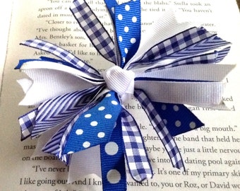 Blue and White Spike Hair Bow