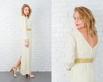 Vintage 60s 70s Cream Wedding Dress Emma Domb Maxi Embellished Medium 5153