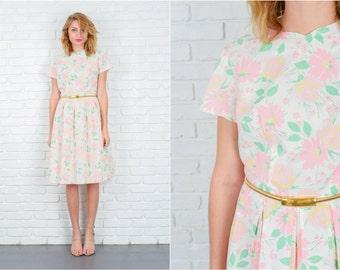 Vintage 60s White Mod Dress Pink Floral Print Pleated A Line Full Medium M 5306