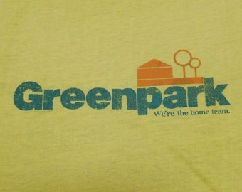 Vintage 80s Greenpark, We're The Home Team Yellow Ringer T-Shirt
