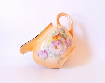 Vintage Creamer Pitcher Peach and Floral Delightful Chech Lustre Ware Creamer Palt Creamer Cottage Shabby Chic Serving Decor Gift under 20