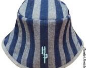 Blue Denim Stripe Patchwork Unisex Bucket Hat | OOAK Denim Hat by Hamlet Pericles