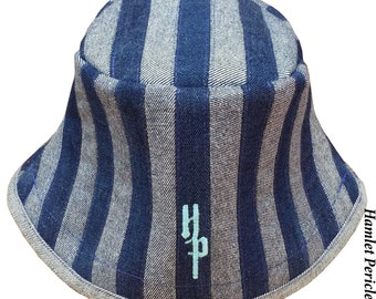 Blue Denim Stripe Unisex Patchwork Bucket Hat | Denim Hat | Jean Hat | Stripe Hat | Patchwork by Hamlet Pericles | HP101213