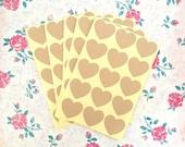 75 Heart-Shaped Kraft Stickers