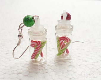 Jar of Candy Canes Earrings. Polymer Clay