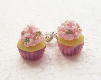 Cupcake Earrings. Winter Frost. Polymer Clay.