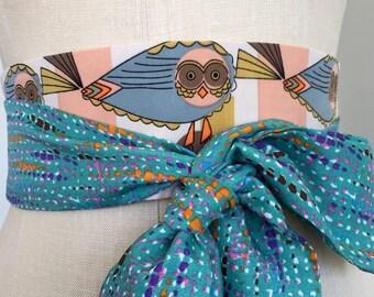 Owl print obi belt , retro style obi sash belt, aqua obi belt, reversible brown orange obi sash belt, waist cincher obi