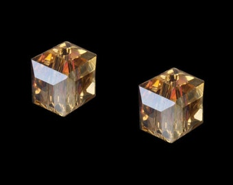 10pcs 6x6mm Champagne AB Color Crystal Glass Cube spacer Beads for jewelry making
