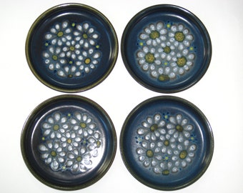 Denby England Blue Kismet Set 4 Bread Plates - Glyn Colledge Flower Power