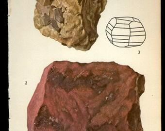 Antique Prints, 1950s  Rocks and Minerals 90, cinnibara wall art vintage coloured illustration rocks natural science