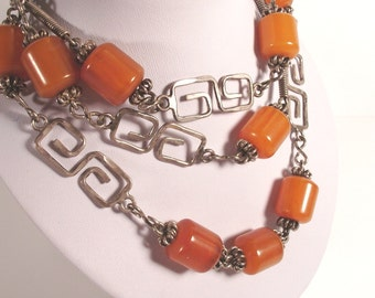 Sterling Silver, Amber Bakelite, Barrel Bead Necklace, 37 inch, Unusual Deco, Modernist, Geometric, Hammered Links, Vintage Long Necklace