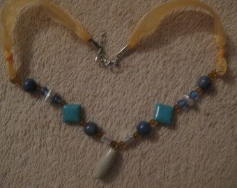 20 inch ribbon beaded necklace  Trendy design