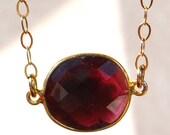 SALE Garnet Necklace - January Birthstone Necklace - Garnet Jewelry - January Birthstone Jewelry - Gold Garnet Necklace