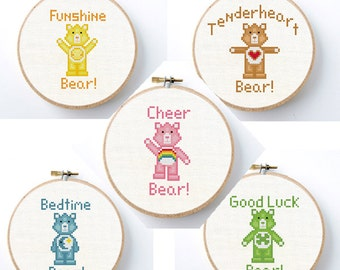 Care Bears Cross stitch pattern Instant Download Care Bear nursery set of 5 carebears needlepoint project