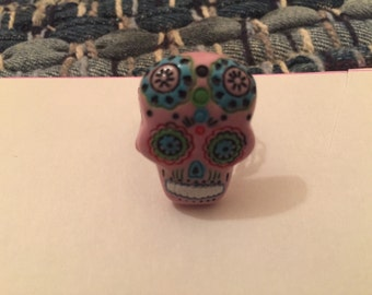 Pink sugar skull adjustable ring
