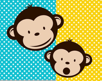 Boy Mod Monkey clipart set  and Backgrounds for Personal Use ONLY 11x14 in. 300 dpi PNG