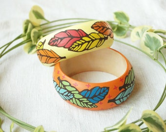 Hand painted wooden bangle,boho bracelet ,colourful wood bangle,wood bracelet