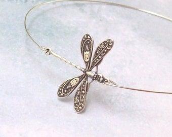 Dragonfly Bracelet, Dragonfly Bangle, arm bracelet, stacking bracelet, silver dragonfly, minimal, stainless, hypo allergenic, boho, insect