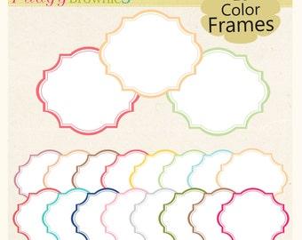 ON SALE Digital frame, tea party frames , instant download white background frame, digital scrapbooking frames. yellow, blue, green A-180