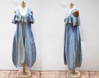 Pure european linen dress S size, flax, hemp, long dress, hand dyed ombre unique fashion design, eco friendly look organic natural art  326
