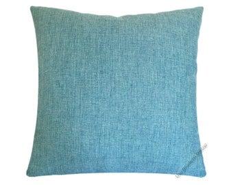"Aqua Blue Cosmo Linen Decorative Throw Pillow Cover / Pillow Case / Cushion Cover / 20x20"" Square"