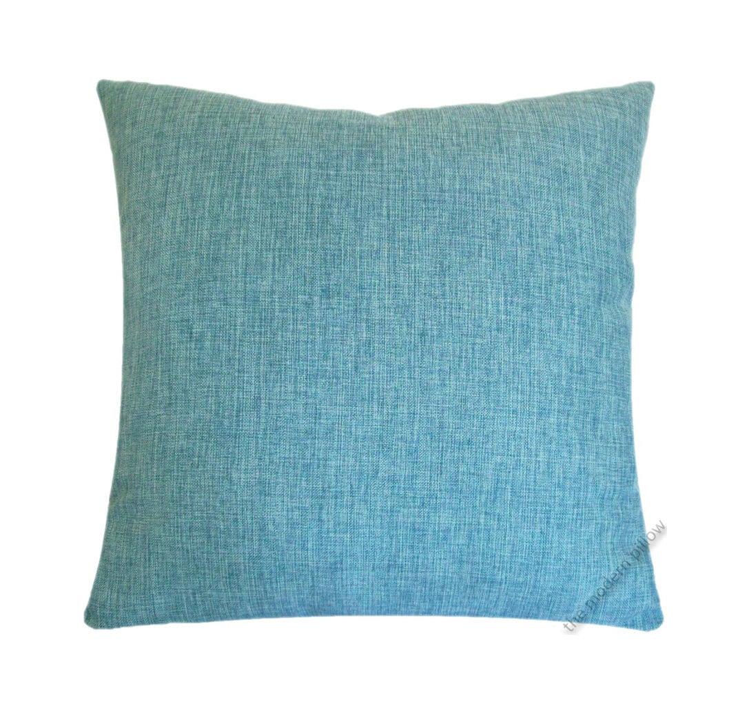 Aqua Blue Cosmo Linen Decorative Throw Pillow Cover / Pillow