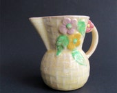 Vintage Wade Pottery Cream Jug - Pitcher - Creamer -  Basketweave Floral Design - Wade Heath England