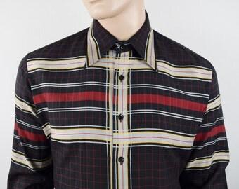 Vintage 1970's 80's Men's  Lucien PIccard ReTrO Striped Plaid DiScO HiPsTeR Shirt Size XL 2XL
