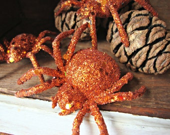 Set of 3 - Orange Glittered Halloween Spiders