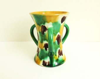 Small Majolica Vase with Three Handles - Colorful Modern Country Fall Decor - Mustard Yellow and Green
