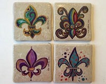 Coasters Ceramic - Drink Coasters - Fleur de Lis Coasters - Fleur de Lis Gift - New Orleans Coasters Gift - Coaster Gift - Tile Coasters