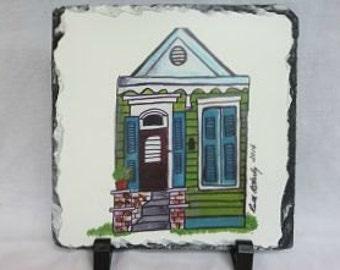 New Orleans Shotgun House on Slate - New Orleans Houses - New Orleans Art - Original Art - French Quarter - New Orleans Gift - Artwork Slate
