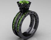 Classic Armenian 14K Black Gold 1.0 Ct Peridot Engagement Ring Wedding Band Bridal Set AR140S-14KBGP