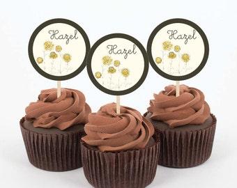 Instant Download - Hazel - 5 DIY, Printable Cupcake Toppers - Birthday, Shower
