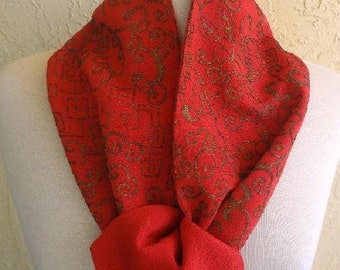 """Vintage 1930s / Art Deco  Gold Metallic Embroidered Chinese Red Silk Crepe  Scarf  52"""" X 6"""""""