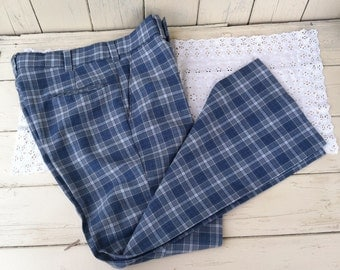 Vintage Plaid Hipster Pants - Retro Gray + Blue Slacks by Campus Studio One, Mid Century Preppy Wide-Bottomed Pants, Unisex Hipster Clothing