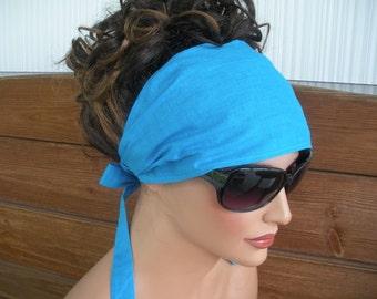Womens Headband Fabric Headband Spring Fashion Accessories Women Headscarf Boho Headwrap Bandana in Aqua blue - Choose color